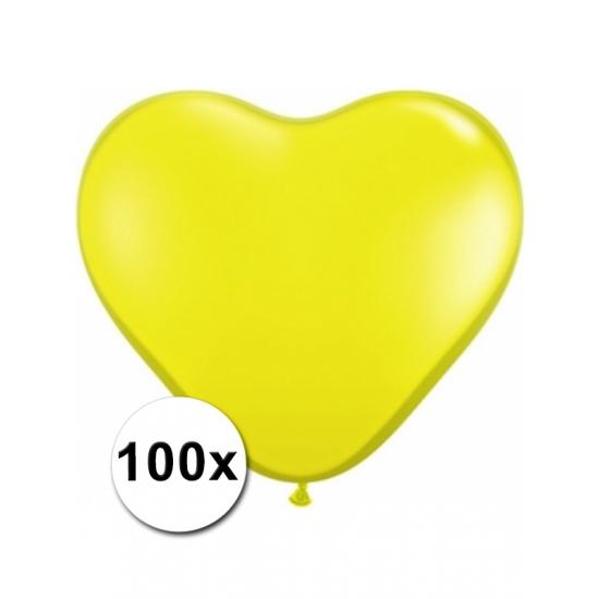 Bierfeest artikelen 100 Gele harten ballonnen 15 cm Feestartikelen diversen