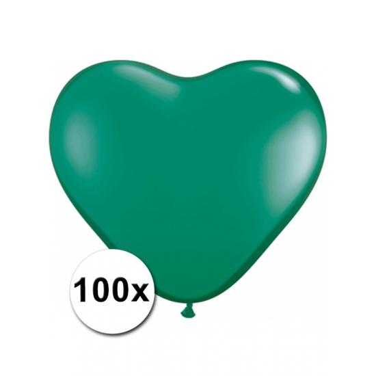 100 Groene harten ballonnen 15 cm Bierfeest artikelen gaafste producten