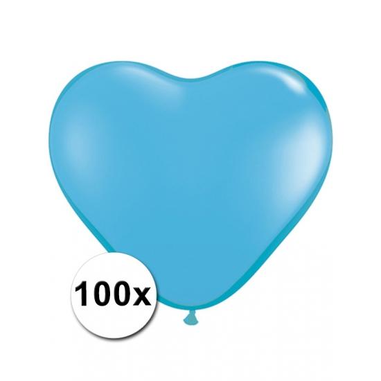 Feestartikelen diversen Bierfeest artikelen 100 Lichtblauwe harten ballonnen 15 cm