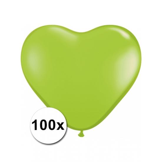 100 Lime groene harten ballonnen 15 cm Bierfeest artikelen Feestartikelen diversen