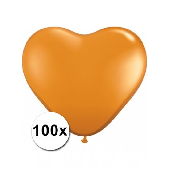 Feestartikelen diversen 100 Oranje harten ballonnen 15 cm
