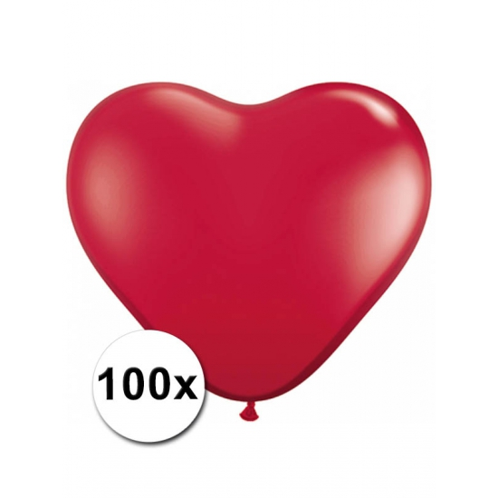 Feestartikelen diversen 100 Rode harten ballonnen 15 cm