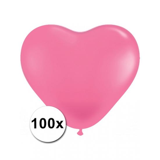 Bierfeest artikelen 100 Roze harten ballonnen 15 cm Feestartikelen diversen