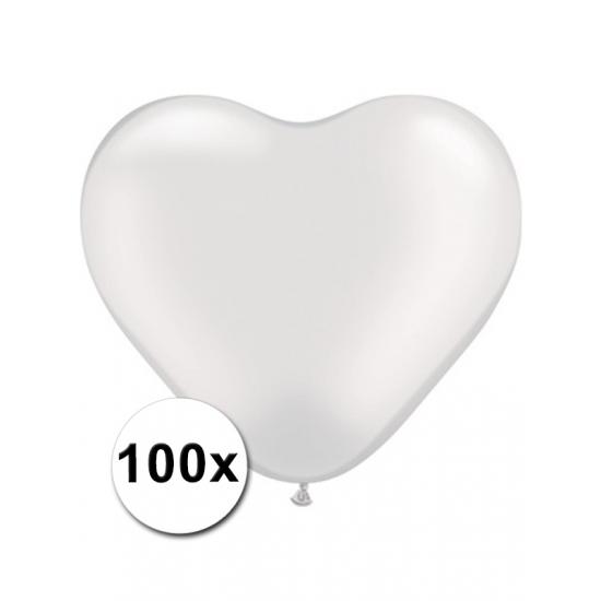 Feestartikelen diversen Bierfeest artikelen 100 Transparante harten ballonnen 15 cm