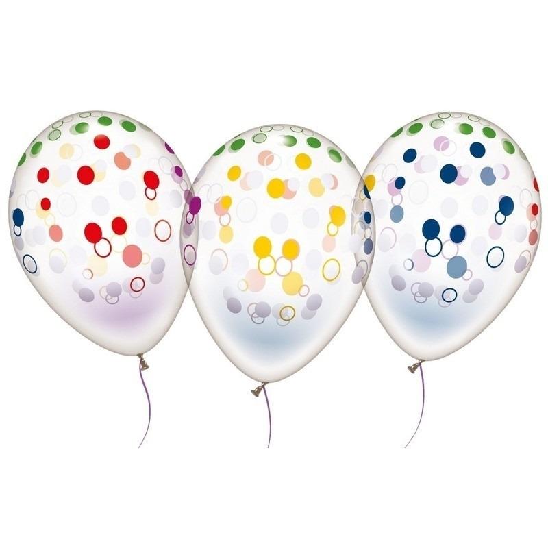 10x Transparante ballonnen met stippen 28 cm