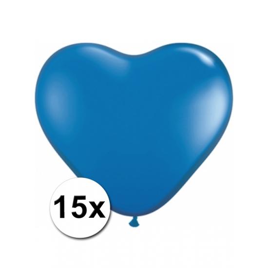 15 Blauwe harten ballonnen 15 cm