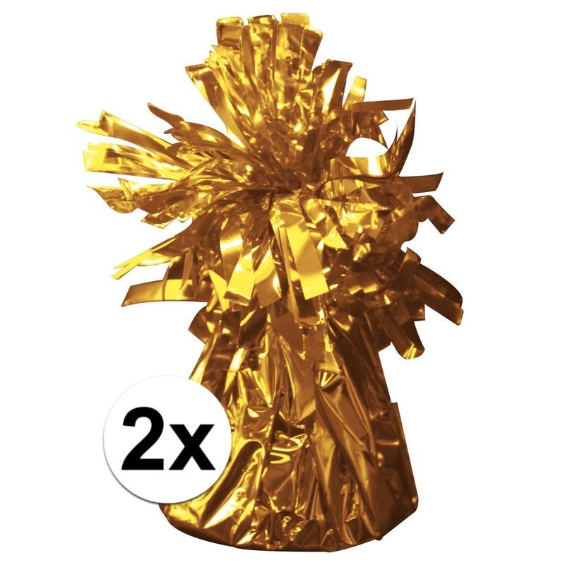Geen 2 Ballongewichten goud 170 gr Feestartikelen diversen