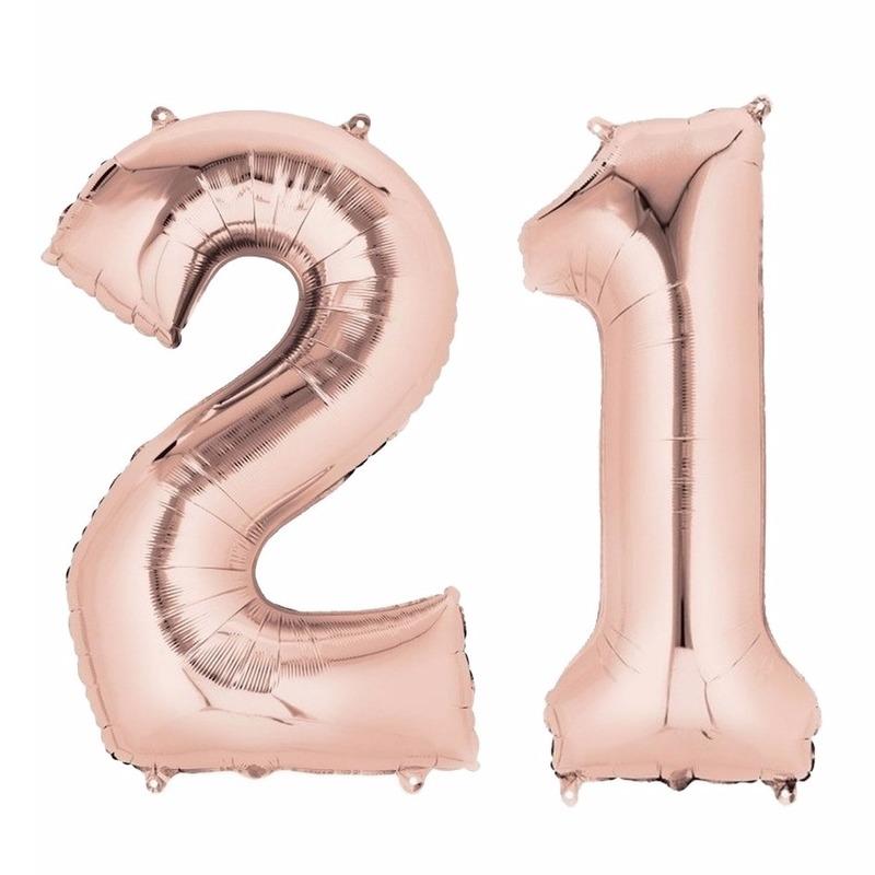Leeftijd feestartikelen 21 jaar geworden cijfer ballon rose goud