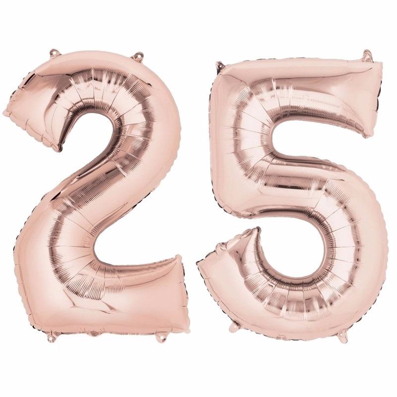 Geen 25 jaar geworden cijfer ballon rose goud Leeftijd feestartikelen