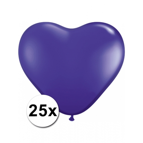 Shoppartners 25 Paarse harten ballonnen 15 cm Feestartikelen diversen