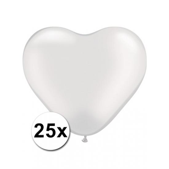 Feestartikelen diversen Shoppartners 25 Transparante harten ballonnen 15 cm
