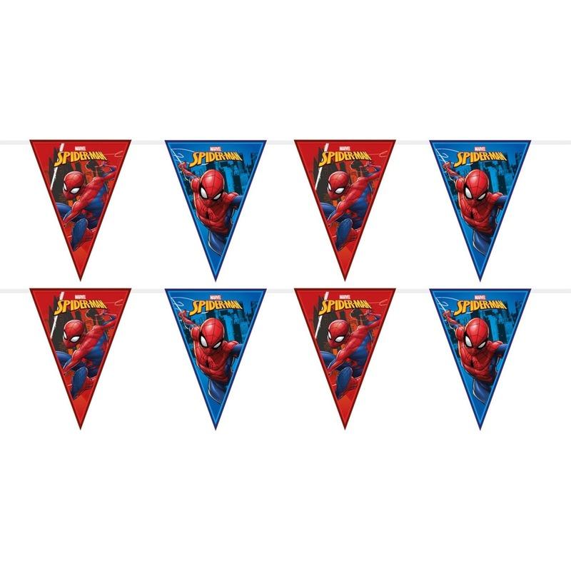 2x Marvel Spiderman themafeest vlaggenlijnenen 230 cm