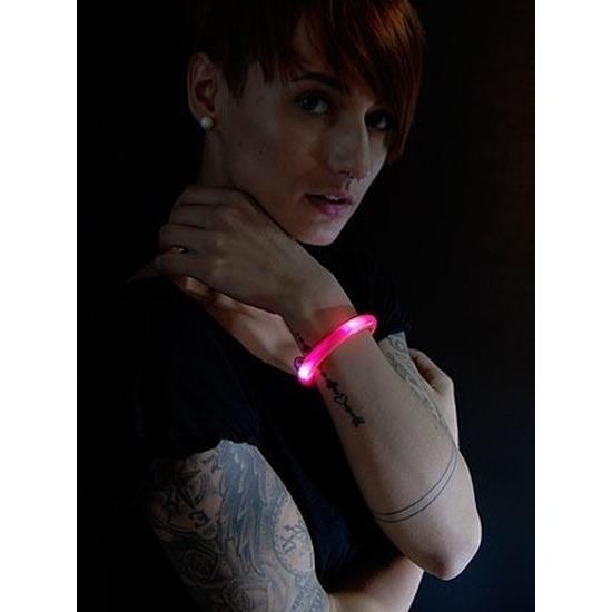 2x Rode LED licht wikkel armbanden voor volwassenen