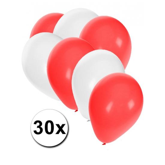 Landen versiering en vlaggen Fun Feest party gadgets 30x ballonnen in Poolse kleuren