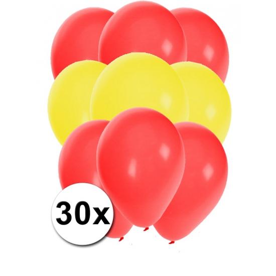 Fun Feest party gadgets 30x ballonnen in Spaanse kleuren Landen versiering en vlaggen