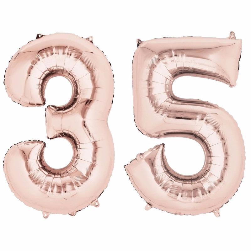 Leeftijd feestartikelen Geen 35 jaar geworden cijfer ballon rose goud
