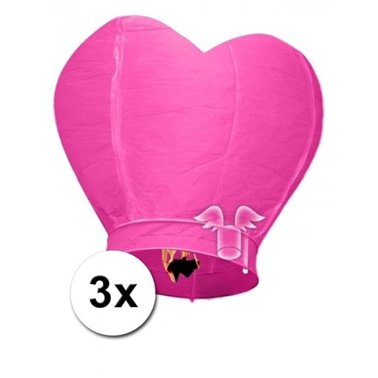 3x grote wensballon in hartvorm roze 100 cm Bierfeest artikelen Feestartikelen diversen