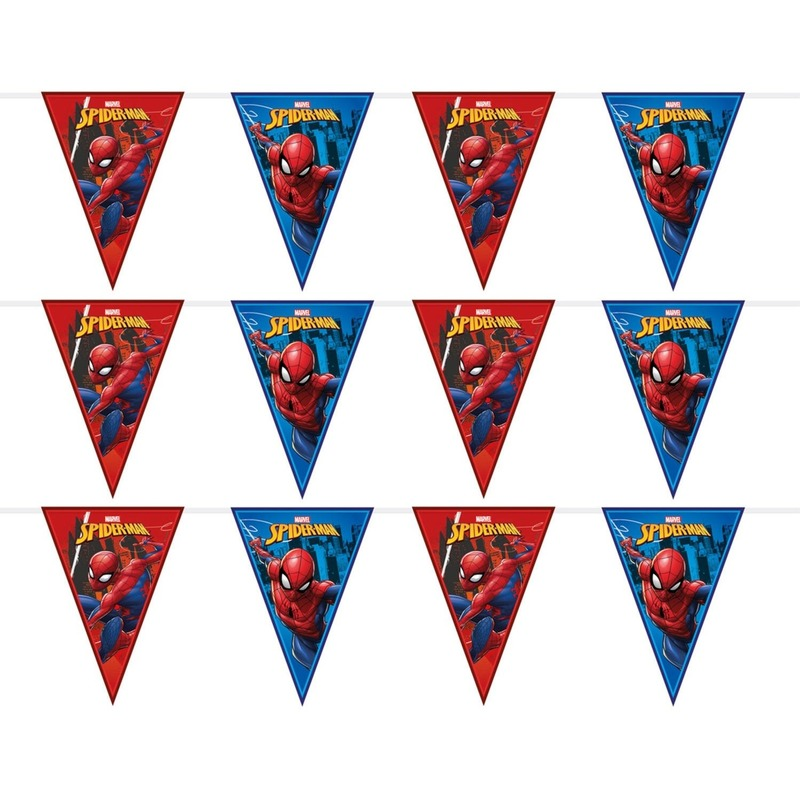 3x Marvel Spiderman themafeest vlaggenlijnen 230 cm
