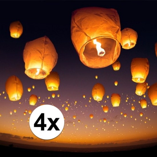 Feestartikelen diversen Shoppartners 4 x Wens en geluksballon wit 50 x 100 cm