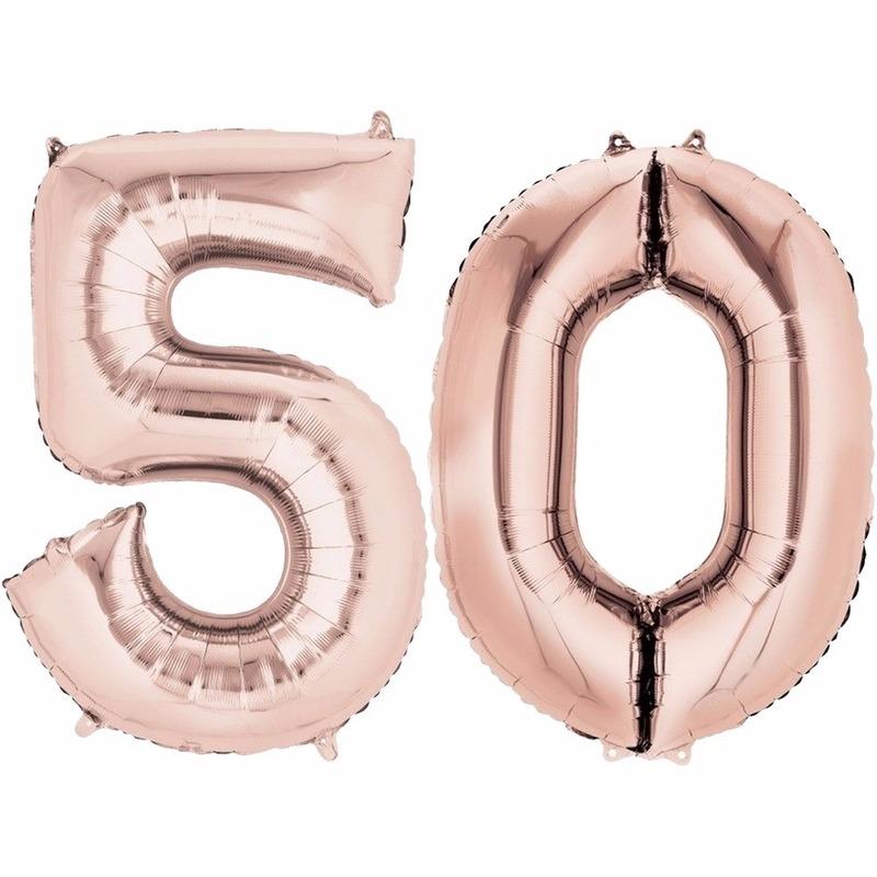 50 jaar geworden cijfer ballon rose goud Geen Koopje