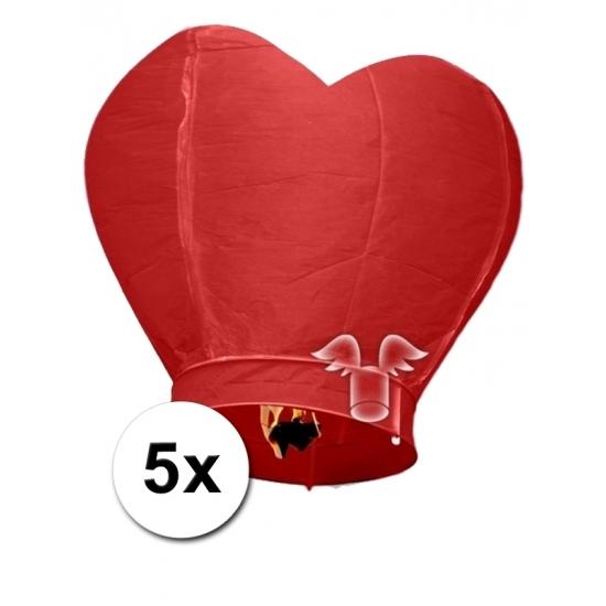 Feestartikelen diversen 5x grote wensballon in hartvorm rood 100 cm