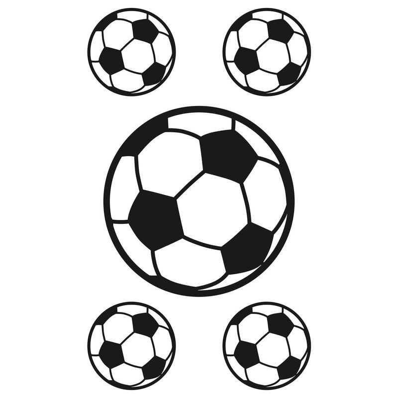 5x Raamstickers voetbal raamdecoratie