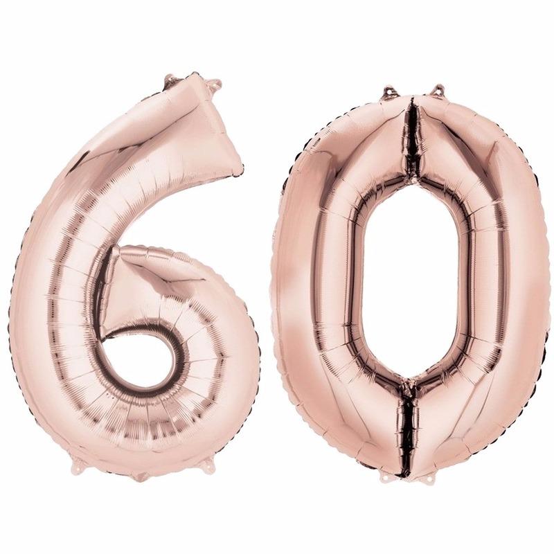 Leeftijd feestartikelen 60 jaar geworden cijfer ballon rose goud