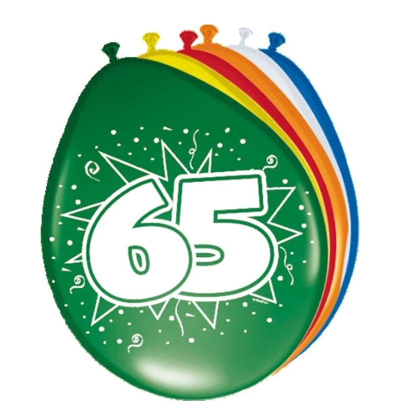 8x stuks Ballonnen 65 jaar 30 cm