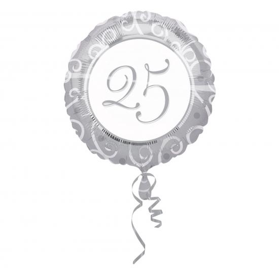 Feestartikelen diversen Ballon helium met 25 zilver