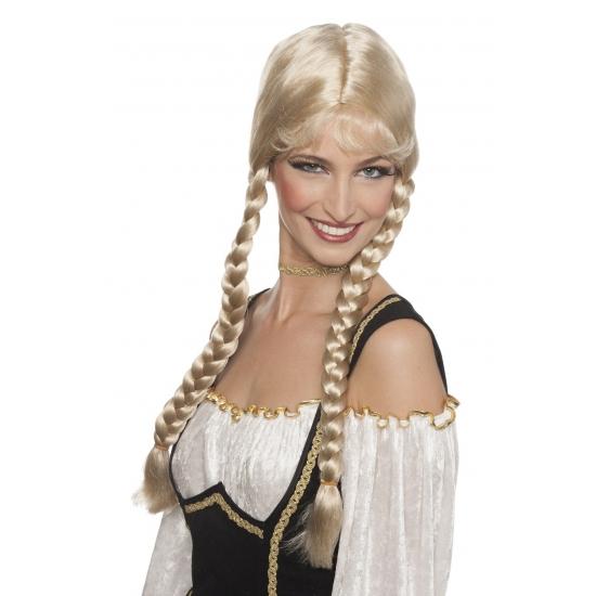 Blonde damespruik met lange vlechten Bierfeest artikelen Pruiken