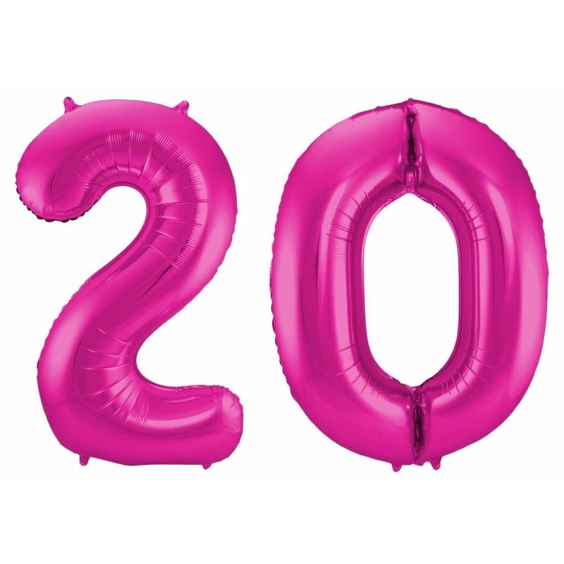 Leeftijd feestartikelen Cijfer ballonnen 20 jaar 86 cm
