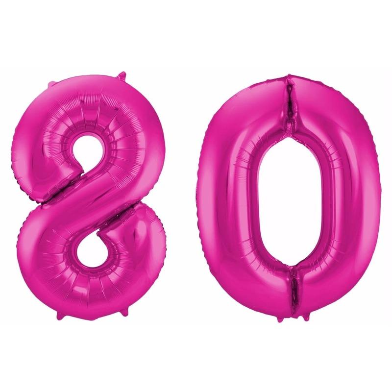 Cijfer ballonnen 80 jaar 86 cm Geen Schitterend