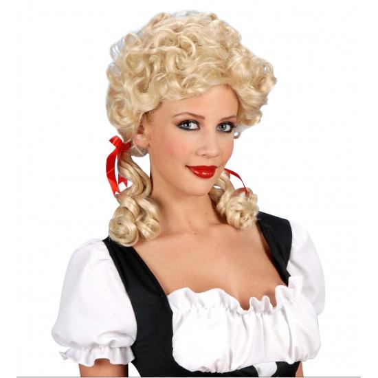 Pruiken Bierfeest artikelen Damespruik boerin blond met staartjes