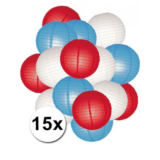 Feestpakket met rood, wit en blauwe lampionnen