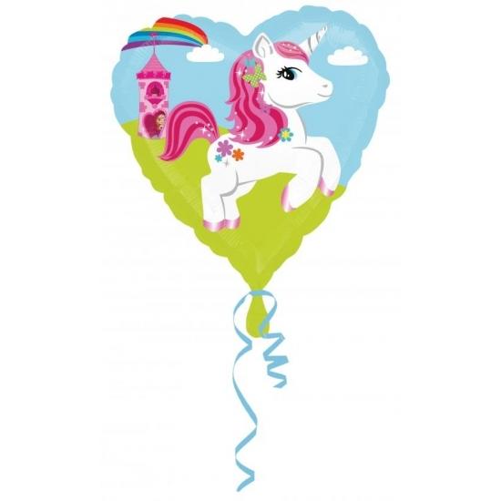 Feestartikelen diversen Folie ballon eenhoorn hart 43 cm