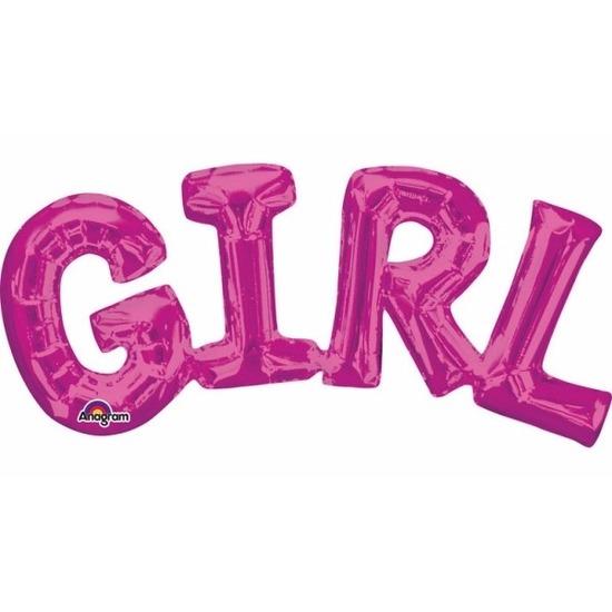 Folie ballon Girl roze 55 cm Bierfeest artikelen goedkoop online kopen
