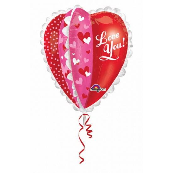 Feestartikelen diversen Folie ballon hartjes love you 76 cm