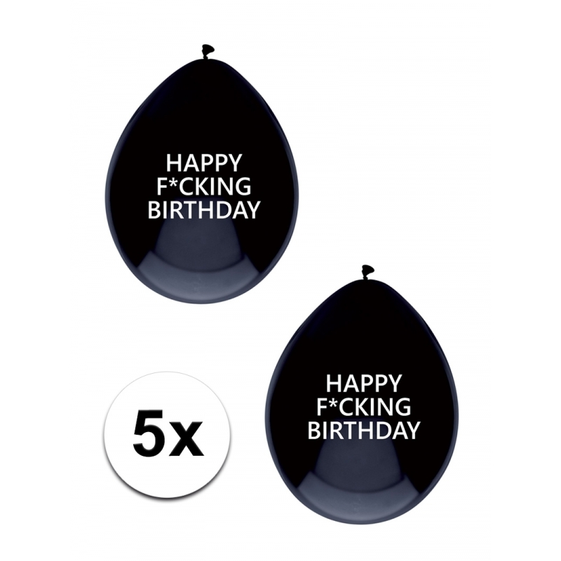 Fun ballonnen Happy Fucking Birthday 5 stuks Bierfeest artikelen voordeligste prijs