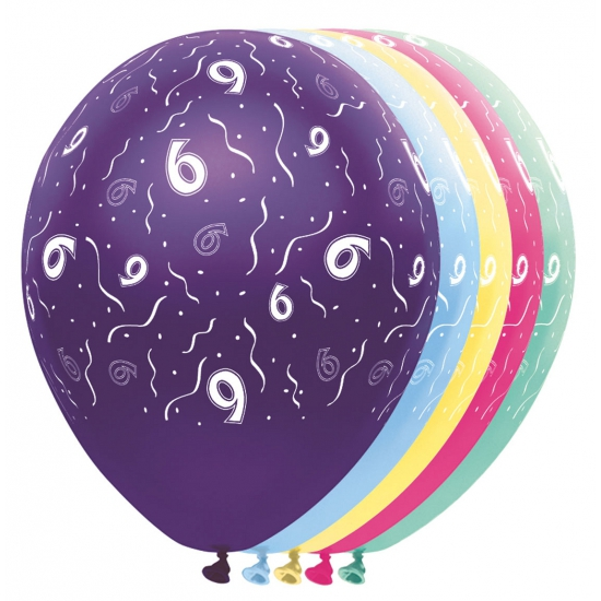 Gekleurde helium ballonnen 6 jaar Folat beste