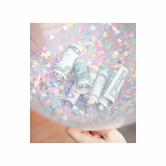Geld kado 10 hartjes ballonnen met confetti Geen Feestartikelen diversen