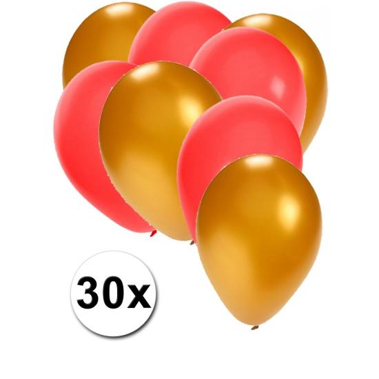 Gouden en rode feestballonnen 30x