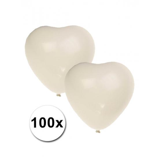 Feestartikelen diversen Geen Hartjes ballonnen wit 100 stuks