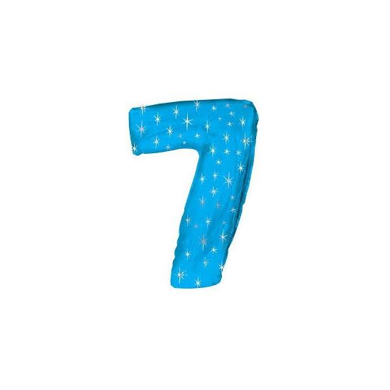 Bierfeest artikelen Helium ballon blauw met sparkle nummer 7 Leeftijd feestartikelen