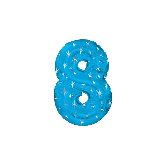 Helium ballon blauw met sparkle nummer 8 Bierfeest artikelen voordeligste prijs