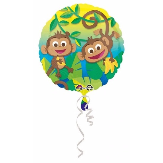 Feestartikelen diversen Helium ballon met Jungle apen print 43 cm