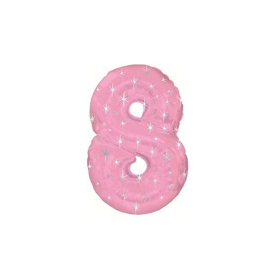 Leeftijd feestartikelen Helium ballon roze met sparkle nummer 8