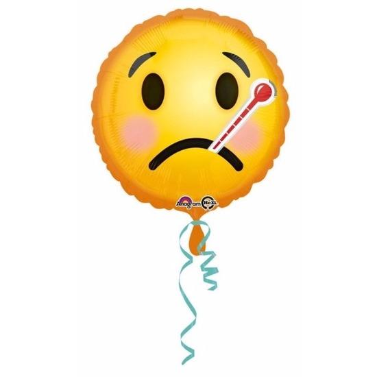 Feestartikelen diversen Helium ballon ziekte smiley print 43 cm