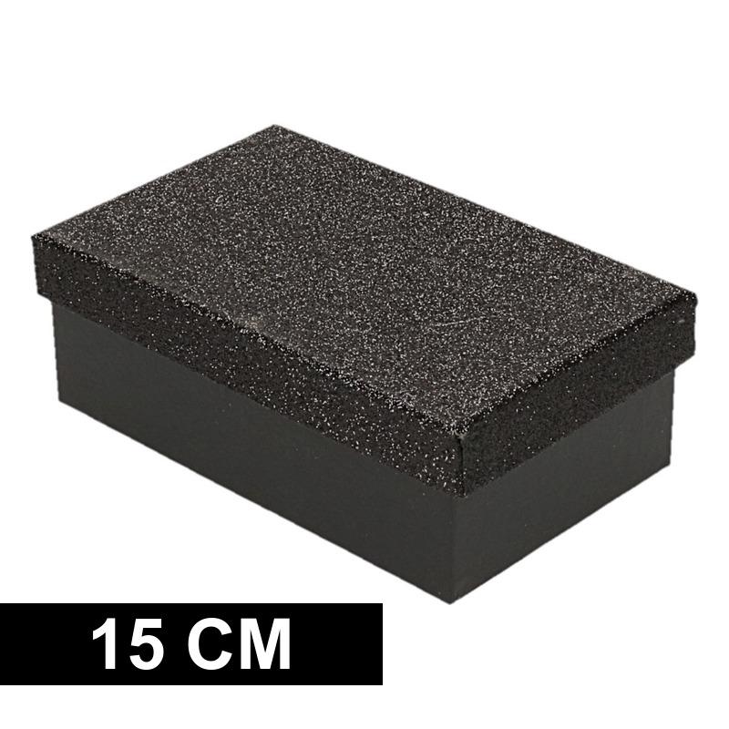 Kerstboom cadeautje zwart glitter doosje 15 cm