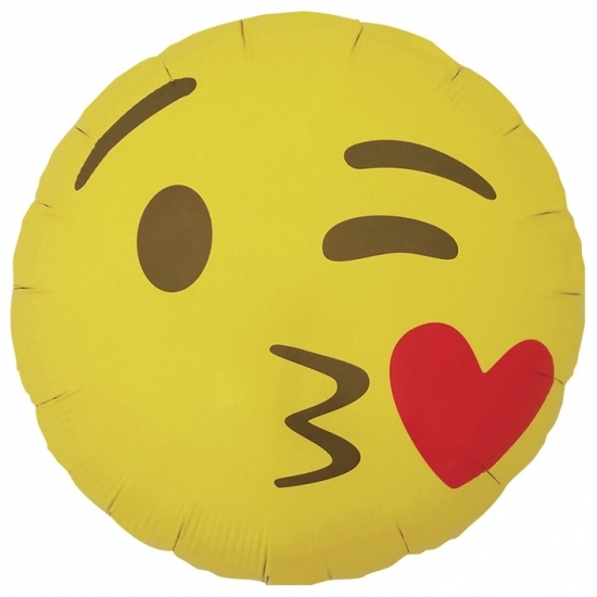 Bierfeest artikelen Kus emoticon folie ballon 46 cm Feestartikelen diversen