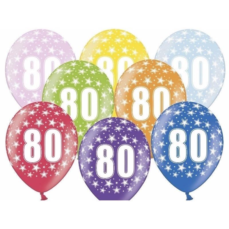 Leeftijd feestartikelen Leeftijd versiering sterren ballonnen 80